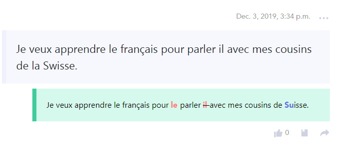 Exemple de correction sur le site LangCorrect