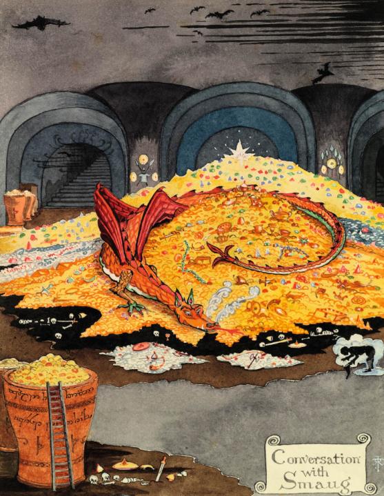 Illustration de l'antre de Smaug par J. R. R. Tolkien